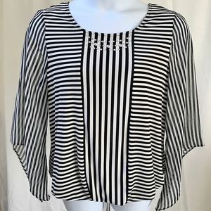 Alfani Striped Angel-Sleeve Top, size 0X